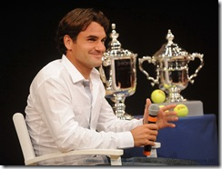 NEW YORK - AUGUST 27: Roger Federer of Switzerland attends the 2009 US Open Draw Presentation at the New York Times Center on August 27, 2009 in New York City. (Photo by Brad Barket/Getty Images)