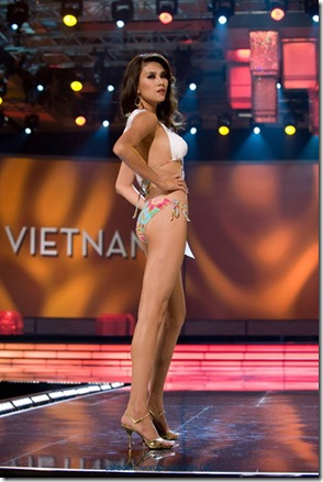 Yen Vo, Miss Vietnam 2009, competes in her BSC Swimwear and Nina Shoes during the swimsuit segment of the Miss Universe 2009 Presentation Show at Atlantis, Paradise Island, Bahamas.  She is in the Bahamas for the 2009 Miss Universe competition which will be held in the Imperial Ballroom at ATLANTIS, Paradise Island, Bahamas, LIVE on NBC Television network at 9 pm ET on Sunday, August 23, 2009.  HO/Miss Universe Organization L.P.,LLLP